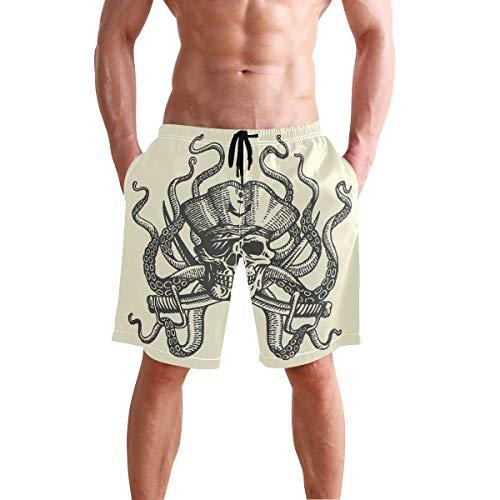 Octopus Pirat Totenkopf Herren Badehose Beach Board Shorts Kordelzug Taille Mesh Futter Gr. XXL, mehrfarbig