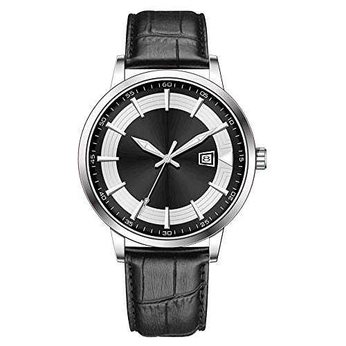 Clásico Adj Impermeable Reloj De Cuarzo Deportivo para Hombre con Diseño De Acero Inoxidable y Personalidad De con Pulsera De Malla (Black-Leather)