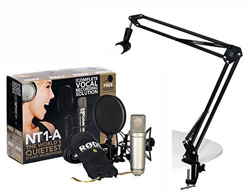 RODE NT1-A Set Kondensator Mikrofon + SHOP2ROCK Gelenkarm Tisch-Stativ