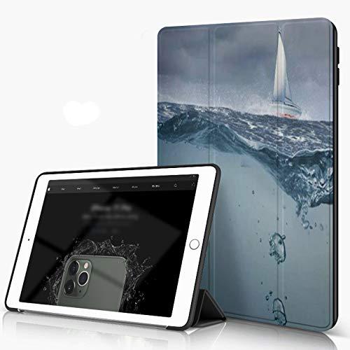 She Charm Funda para iPad 9.7 para iPad Pro 9.7 Pulgadas 2016,Superficie oceánica sumergida Vista tormentosa Flota Flotante Sky Yacht Arriba,Incluye Soporte magnético y Funda para Dormir/Despertar