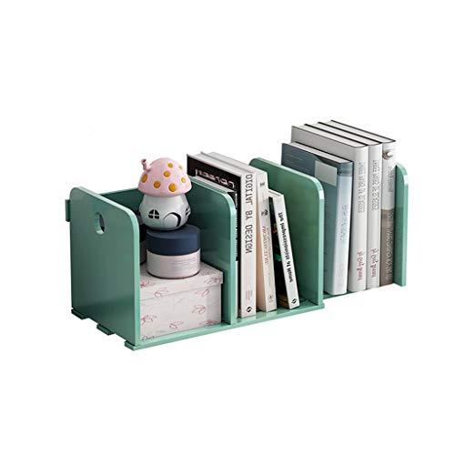 BIAOYU Estantería de escritorio expandible organizador de escritorio ajustable para oficina, estantería de madera para suministros de oficina (color verde, tamaño: A)