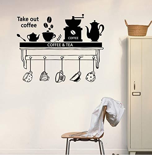 jiushivr Hora del té Comedor Salón Pegatinas de Pared Pegatina de Cocina Arte de Bricolaje Decoración para el hogar Decoración para elhogar Papel de Pared Café42x54cm