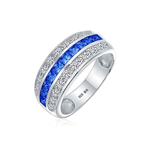 Art Deco azul simulado zafiro AAA cúbico Zirconia media eternidad conjunto de canales princesa corte CZ cúpula 3 fila de declaración ancha anillo de boda .925 plata esterlina comodidad ajuste 8MM