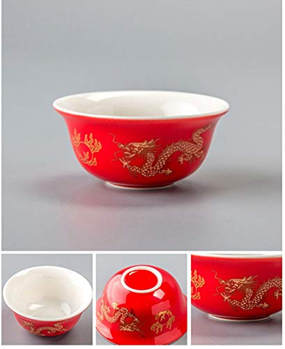 ComGo tradicional taza de té de dragón dorado 1 pieza, taza de té de cerámica Puer taza, horno de cerámica de grado superior porcelana (02)