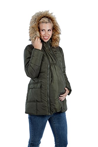 Modern Eternity Womens Quilted Puffer Maternity (Small, Khaki Green)