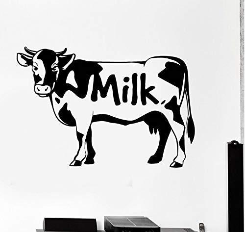 56X82Cm Simpatici Adesivi Murali Di Mucca Adesivi Murali Latteo Latte Animali Adesivi Lattiero-Caseari Art Mural Carta Da Parati Rimovibile Per La Decorazione Domestica