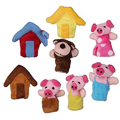 Froiny 8pcs / Set Dedo De Pequeños Animales Marionetas De Felpa Títeres De Dedo Historia De Los 3 Cerditos