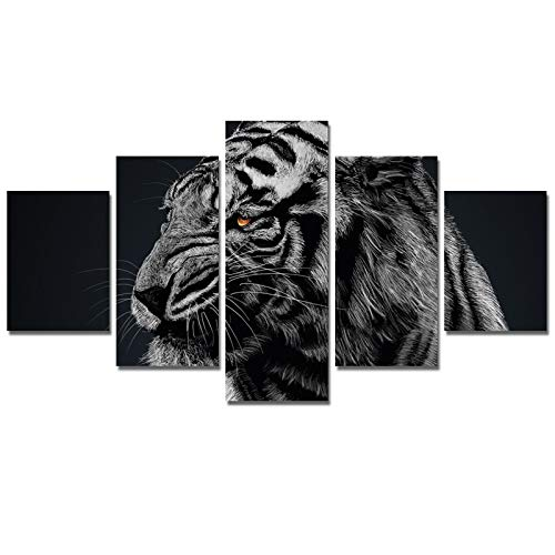 Ruifulex Ölgemälde auf Leinwand, 5 stücke Kunst Wandmalereien Schlafzimmer Wohnzimmer Hintergrund Wanddekor, heftige Tiger Grau 30 * 40 cm * 2 30 * 60 cm * 2 30 * 80 cm * 1 rahmenlose