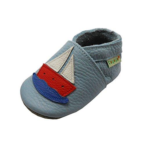 SAYOYO Karikatur Lauflernschuhe Baby Leder Weiche Sohle Kugelsicherer Krippe Enfants Schuhe, Blau, 25/26 EU (Herstellergröße: 24 -36 Monate)