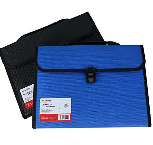 Handgestrickte A4 Orgel Tasche 13-lagige Mehrlagige Ordner Student Mit Großer Kapazität Test Büroklammer Büro Aktentasche Strickmuster blau