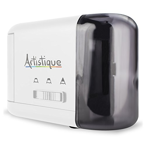 Artistique Electric Pencil Sharpener - Best Heavy-Duty Automatic Electric Pencil Sharpener for Art, Office & School - Works w/Lead & Colored Pencils - Uses Battery or Wall Power - White