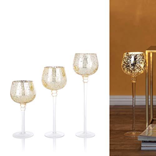 3er Set Glaskelche mit LED Lichterkette und Timer - Windlicht, Kerzenständer, Kerzenhalter (Gold)