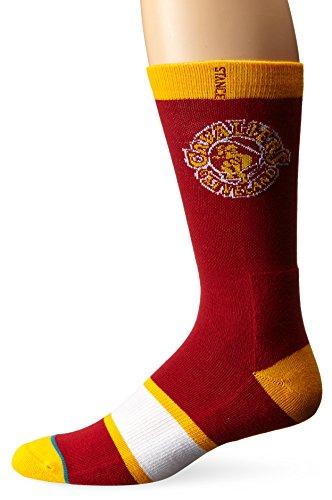 Stance Men's NBA Cavaliers Premium NBA Crew Socks Red L