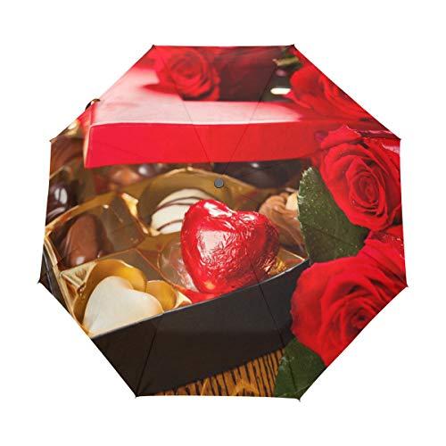 Paraguas de viaje compacto para el Día de San Valentín, diseño de rosas rojas de chocolate, para la lluvia, el sol al aire libre, el sol, el coche, el toldo reforzado, la protección UV, el mango ergonómico, el auto se abre y cierra
