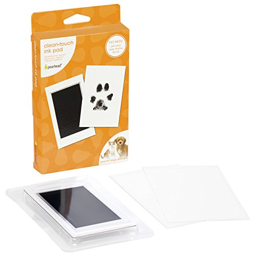 Pearhead Pet Paw Print Clean-Touch Ink Pad and Imprint Cards, Cats or Dogs, Pet Owner, Black