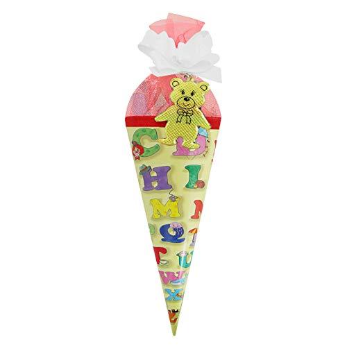 Schultüte Zuckertüte ABC gelb, 22 cm rund, gefüllt mit Süßigkeiten und Schreibutensilien Geschenkidee zum Schuleingang Schulanfangsgeschenk ABC-Schütze