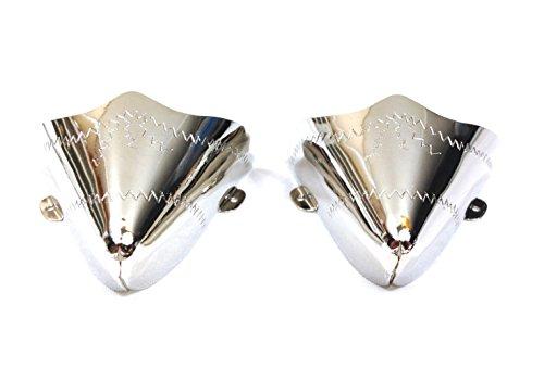 WESTERN EXPRESS Paar Stiefelspitzen Westernstiefel handgraviert Silber plattiert WX-16 Kappe, 38 EU, Silber