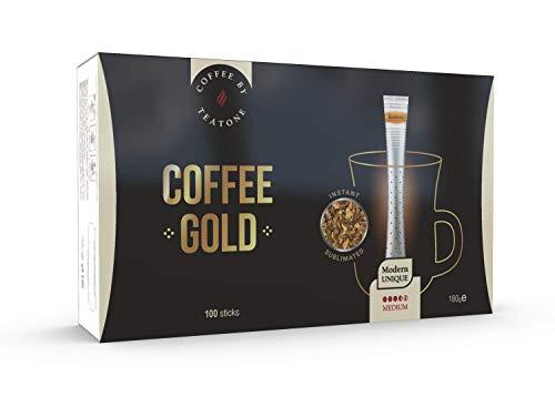Teatone Coffee Gold im Stick | Instant Kaffee im praktischen Stäbchen | milder Kaffee aus Arabica-Bohnen im Coffee Stick | löslicher Instantkaffee | 100 kuvertierte Kaffee Sticks