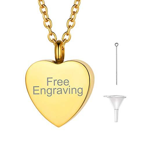FaithHeart 18k vergoldet gravierbar Memorial Schmuck Herz Halskette wasserdichte Herzkette für Sie und Ihr Geliebte