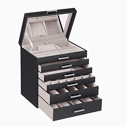 SONGMICS Schmuckschatulle groß Schmuckkästchen 6 Ebenen mit 5 Schubladen Spiegel, Schwarz JBC138B