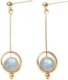 M&D Jewelry Natural Moonstone Lucky Stone Long Drop Cricle Stud Earrings for Women Sterling Silver Plated 14k Gold-Lucky S...