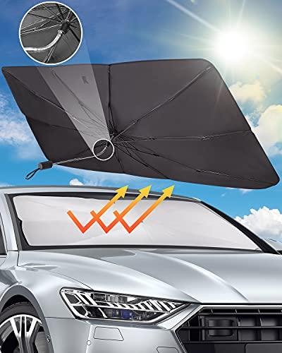 Parasol Coche Delanteras para Parabrisas de Coche, Sombrilla Paraguas Plegable del Coche para Lunas Delanteras, Protector con Anti UV Rayos, 140*80CM