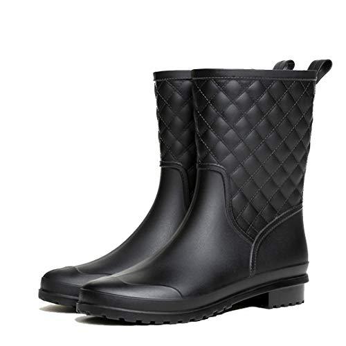 Mini Balabala Damen Gummistiefel Halbhohe wasserdichte Regenstiefel Schnalle Reitstiefelette Rain Boot Casual Garten Stiefel Halbhohe wasserdichte Regenstiefel