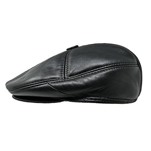 TangTown Lambskin Leather Unisex Flat Cap Newsboy Driving Cabbie Ivy Flat Cap (XL)