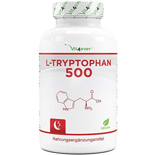 L-Tryptophan 500 mg - 300 vegane Kapseln - Reine Aminosäure aus pflanzlicher Fermentation - Laborgeprüft (Wirkstoffgehalt & Reinheit) - Ohne Zusätze - Hochdosiert - Vegan - Premium Qualität
