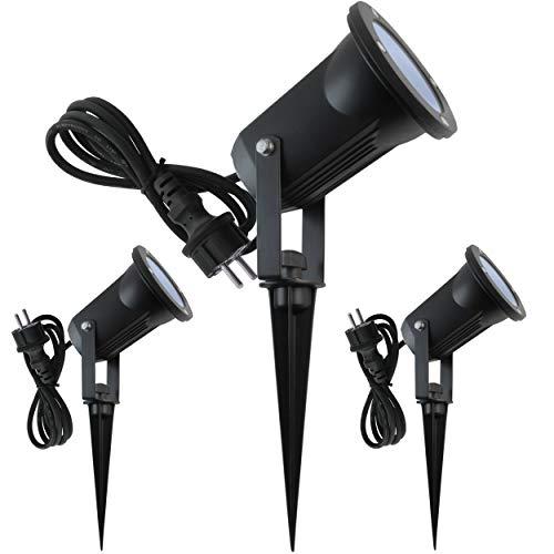 Lumare Gartenstrahler LED mit Erdspieß GU10 inkl. 7W COB LED Aussenstrahler LED Gartenleuchte Gartenlampen Set Ambientebeleuchtung Strahler außen Garten Gartenbeleuchtung IP65 3er Set