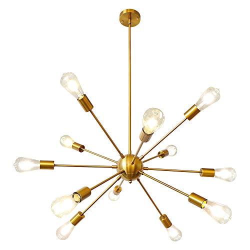 LynPon Lámparas de Araña Sputnik Dorada Laton 12 Luces Industrial Metal Techo Lamparas Colgante Moderno para Cocina, Comedor, Dormitorio, Sala