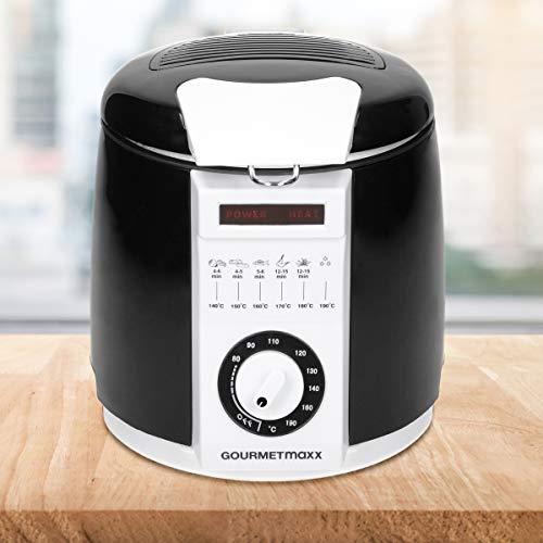 GOURMETmaxx Mini-Fritteuse 840 Watt 1 Liter mit regelbare Temperatur bis max 190°C, LED-Kontrollleuchte und auswechselbarer Fettfilter - Multi-Fritteuse Kompakte Tisch Friteuse Fritöse Frittieren Öl