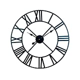 AMYZ Reloj de Pared con números Romanos de Metal Retro Grande - Reloj de Pared Reloj de Pared de Sala de Estar con Movimiento de Sol de Hotel Romano de Metal Retro