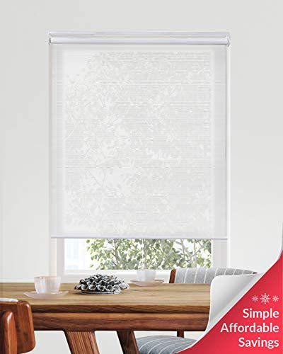CHICOLOGY Cordless Roller Shades Snap-N'-Glide Filtering Perfect for Living Room/Bedroom/Nursery/Office and More, 48' W X 72' H, 4.View-Tiful White (Solar)