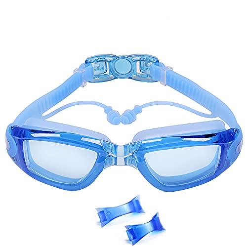 Aric Occhialini da nuoto per uomo e donna con tappi per le orecchie e clip per il naso, regolabili, anti-appannamento, impermeabili, con custodia protettiva (blu)