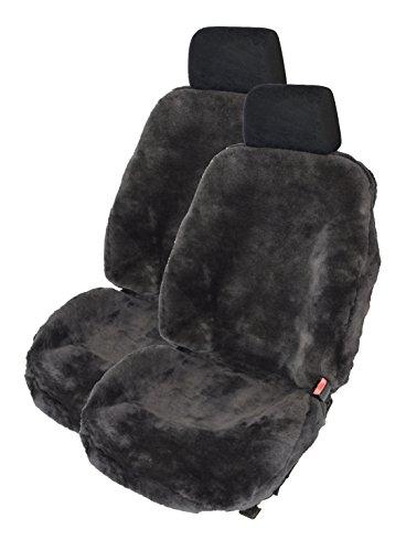 Leibersperger Felle 1Paar Autoschonbezüge Autofelle komplett aus echtem Lammfell Premium (Schiefer) mit hoher Sitzlehne bis 65cm (Direkt vom Hersteller)