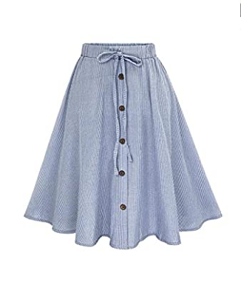 RTYou New Style Women Stripe Single-Breasted Lace High Waist Plain Skater Flared Skirt