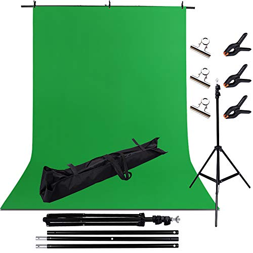 WEMOSI Green Screen Backdrop with Stand - 6ftx10ft Green Backdrop Portable Stand Kit,Polyester Photography Backdrop Background with 3P Spring Clamps and 3P Silver Clamps for Photo Video Studio