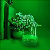 Canguro de moda 3D acrílico multicolor luz de noche luz LED multicolor decoración creativa lámpara de mesa pequeña base agrietada