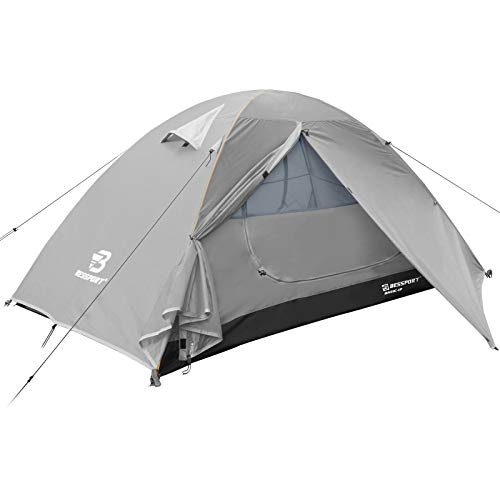 Bessport Tent for Camping 1 Person Lightweight Backpacking Tents Waterproof Two Doors Easy Setup 4 Season Outdoor Dome Tent for Beach Hiking Festival-Light Grey