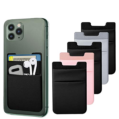 SHANSHUI Card Holder for Back of Phone, Double Cloth Slim Stretchy Phone Pocket Pouch Stick on ID Credit Card Wallet Compatible with iPhone 11 Pro Samsung Galaxy S10 and More(Black,Grey,Pink/5pcs)