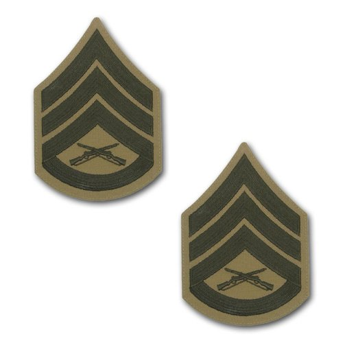 VANGUARD Marine Corps Chevron: Staff Sergeant - Green Embroidered ON Khaki, Male