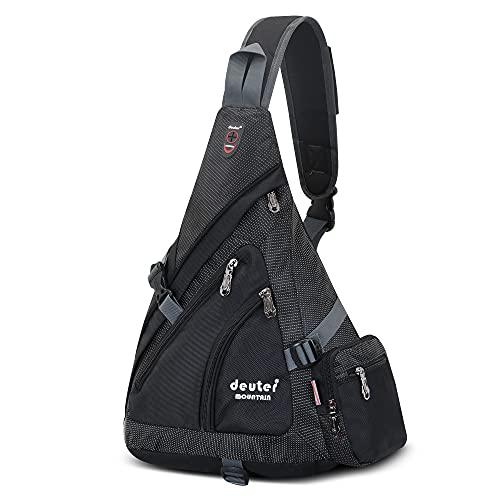 JSDing Sling Rucksack Herren Damen   Brusttasche Sling Bag Sport Grosse Kapazität   Umhängetasche Schulterrucksack Fahrradrucksäcke Cross Bag für Outdoor Wandern Bergsteigen Reisen