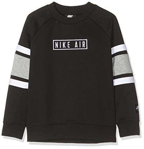 Nike Jungen B NK AIR LS Crew Long Sleeved T-Shirt, Black/dk Grey Heather/White, XS