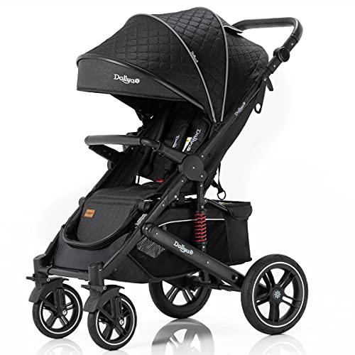 Daliya® Rapidy Buggy Kinderwagen 0-36 Monate Sportwagen mit Liegeposition Wickeltasche, Winterfußsack, Ess- & Spieltisch und mehr (Schwarz Muster - Schwarz)