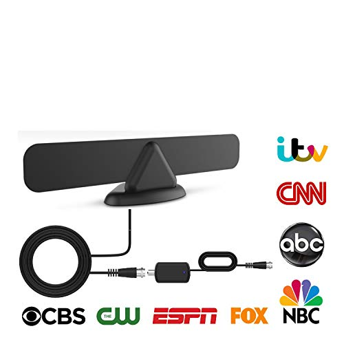 [2020 Edition] Digital Amplified TV Antenna - Best Indoor TV Antennas for HDTV Smart and Older TV's, Support Full HD, 4k — 50-100 Miles Range Powerful Signal Booster Amplifier, 9.8 Ft Coax Cable