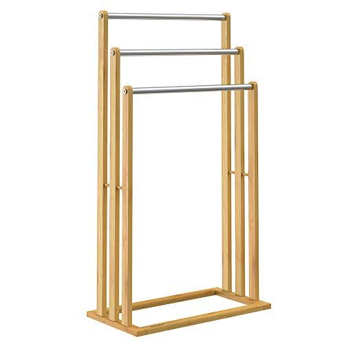 Casaria Handtuchhalter Bambus 3 Edelstahlstangen treppenförmig Handtuchständer Handtuchstange freistehend Badezimmer