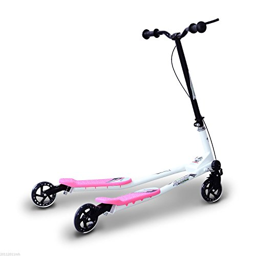 HOMCOM Patinete Scooter de 3 Ruedas Plegable Scooter de Oscilación Reductor para Niños +4 Años con Freno Manillar Ajustable Carga 50 kg 91x60x80cm Marco Acero Rosa