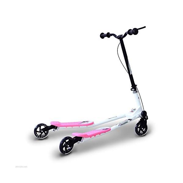 HOMCOM Patinete Scooter de 3 Ruedas Plegable Scooter de Oscilación Reductor para Niños con Freno Manillar Ajustable…