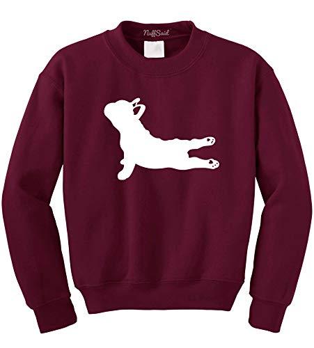NuffSaid Yoga French Bulldog - Crewneck Sweatshirt Sweater Pullover Hoodie - Unisex- Namaste Yoga - Namastay in Bed - Yoga Dog (Large, Maroon)